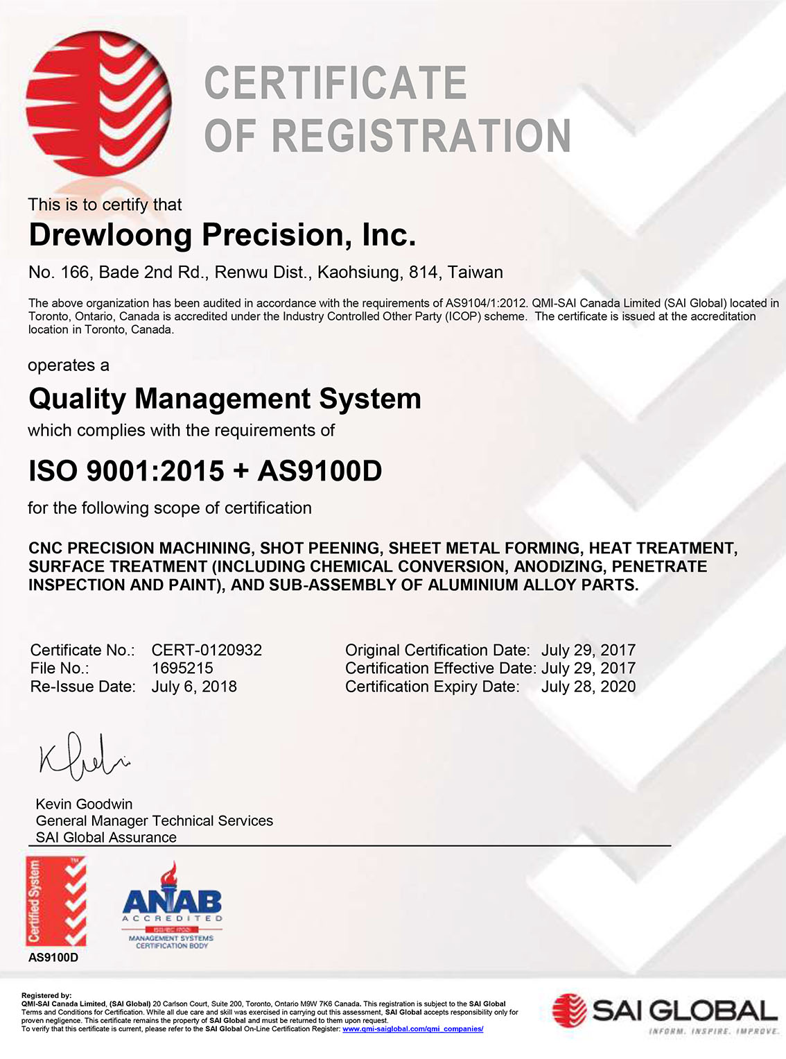 AS Certification – Drewloong Precision, Inc  (DPI)
